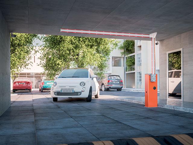 Wide M, gerencia acessos de 4 metros. Um sistema flexível graças à junta articulada da barra que se adequa às necessidades de qualquer prédio comercial ou área de estacionamento, mesmo localizado em subsolo ou com teto baixo.
